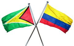 Guyana flag with Colombia flag, 3D rendering Stock Illustration