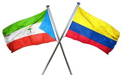 Equatorial guinea flag with Colombia flag, 3D rendering Stock Illustration