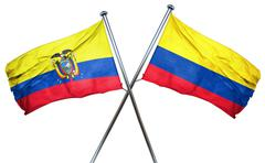 Ecuador flag with Colombia flag, 3D rendering - stock illustration