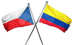 czechoslovakia flag with Colombia flag, 3D rendering - stock illustration