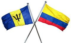Barbados flag with Colombia flag, 3D rendering - stock illustration