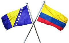 Bosnia and Herzegovina flag with Colombia flag, 3D rendering - stock illustration