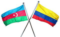 Azerbaijan flag with Colombia flag, 3D rendering - stock illustration