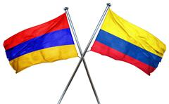 Armenia flag with Colombia flag, 3D rendering - stock illustration