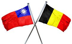 Republic of china flag with Belgium flag, 3D rendering Stock Illustration