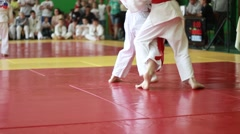 Martial arts judo competition (kids) - stock footage