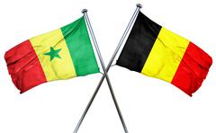 Senegal flag with Belgium flag, 3D rendering Stock Illustration