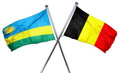 Rwanda flag with Belgium flag, 3D rendering - stock illustration
