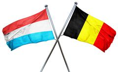 Luxembourg flag with Belgium flag, 3D rendering - stock illustration