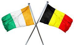 Ivory coast flag with Belgium flag, 3D rendering Stock Illustration