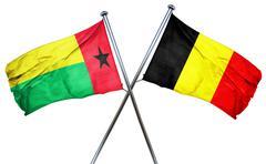 Guinea bissau flag with Belgium flag, 3D rendering - stock illustration