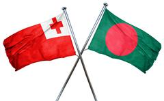 Tonga flag with Bangladesh flag, 3D rendering - stock illustration