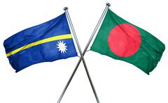 Nauru flag with Bangladesh flag, 3D rendering - stock illustration