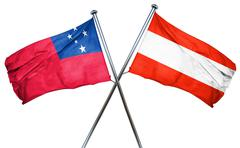 Samoa flag with Austrian flag, 3D rendering Stock Illustration