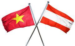 Vietnam flag with Austrian flag, 3D rendering - stock illustration