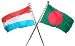 Luxembourg flag with Bangladesh flag, 3D rendering - stock illustration