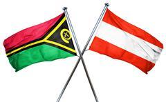 Vanatu flag with Austrian flag, 3D rendering Stock Illustration