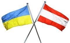 Ukraine flag with Austrian flag, 3D rendering - stock illustration