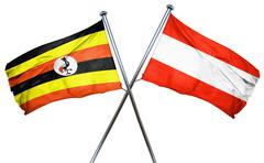 Uganda flag with Austrian flag, 3D rendering - stock illustration