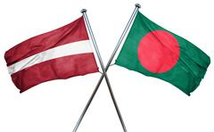 Latvia flag with Bangladesh flag, 3D rendering - stock illustration
