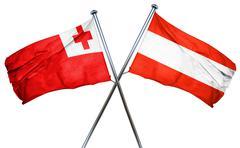 Tonga flag with Austrian flag, 3D rendering - stock illustration
