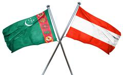 Turkmenistan flag with Austrian flag, 3D rendering Stock Illustration