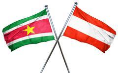 Suriname flag with Austrian flag, 3D rendering - stock illustration