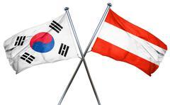 South korea flag with Austrian flag, 3D rendering - stock illustration