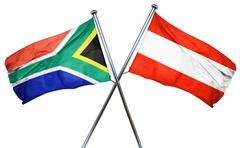 South africa flag with Austrian flag, 3D rendering - stock illustration