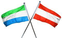 Sierra Leone flag with Austrian flag, 3D rendering Stock Illustration