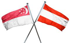 Singapore flag with Austrian flag, 3D rendering Piirros