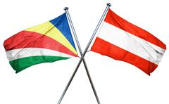 seychelles flag with Austrian flag, 3D rendering - stock illustration