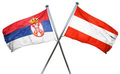 Serbia flag with Austrian flag, 3D rendering - stock illustration
