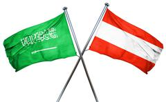 Saudi Arabia flag with Austrian flag, 3D rendering Stock Illustration