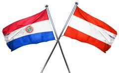 Paraguay flag with Austrian flag, 3D rendering - stock illustration