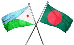 Djibouti flag with Bangladesh flag, 3D rendering Stock Illustration