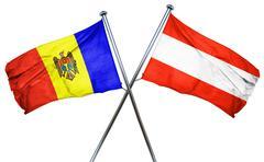 Moldova flag with Austrian flag, 3D rendering Stock Illustration