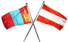 Mongolia flag with Austrian flag, 3D rendering Stock Illustration