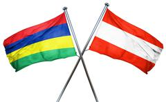 Mauritius flag with Austrian flag, 3D rendering - stock illustration