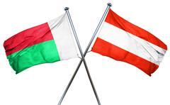 Madagascar flag with Austrian flag, 3D rendering - stock illustration