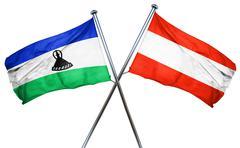 Lesotho flag with Austrian flag, 3D rendering Stock Illustration
