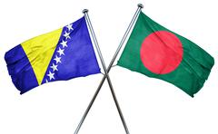 Bosnia and Herzegovina flag with Bangladesh flag, 3D rendering - stock illustration