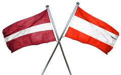 Latvia flag with Austrian flag, 3D rendering Stock Illustration