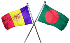 Andorra flag with Bangladesh flag, 3D rendering - stock illustration