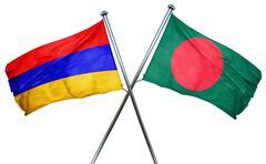 Armenia flag with Bangladesh flag, 3D rendering - stock illustration