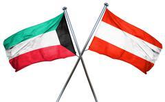 Kuwait flag with Austrian flag, 3D rendering - stock illustration