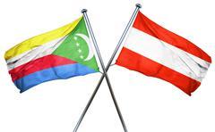 Comoros flag with Austrian flag, 3D rendering Stock Illustration