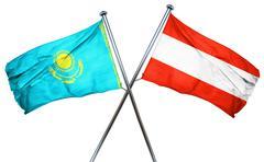 Kazakhstan flag with Austrian flag, 3D rendering Stock Illustration
