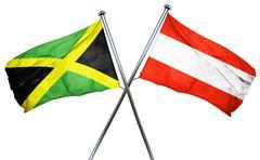 Jamaica flag with Austrian flag, 3D rendering - stock illustration