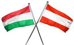 Hungary flag with Austrian flag, 3D rendering - stock illustration